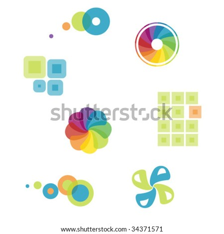 series of colorful graphics - stock vector