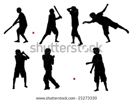 Series of Cricket silhouettes (detailed) - stock vector