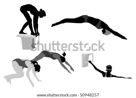 Series of female swimmer silhouettes