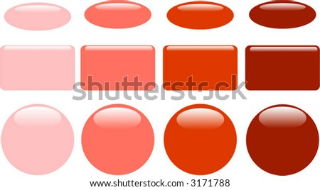 Series of orange glass web buttons - stock vector
