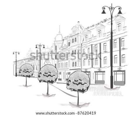 Series of sketches of beautiful old city streets - stock vector