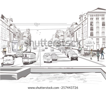Series of sketches of beautiful old city, traffic  - stock vector