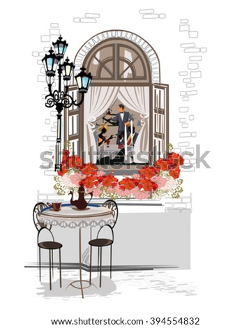 Series of sketches of beautiful old city views with cafes and flowers. - stock vector