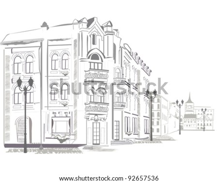 Series of sketches of streets in old city - stock vector