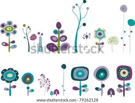 Series of space flowers for your garden - stock vector