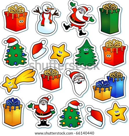 Series of stickers with Christmas subjects. Vector illustration - stock vector