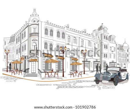 Series of street cafes in the old city - stock vector
