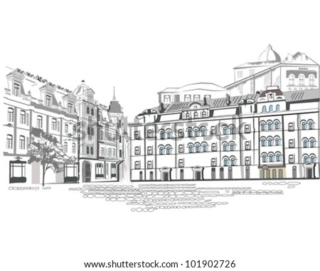 Series of street sketches in the old city - stock vector