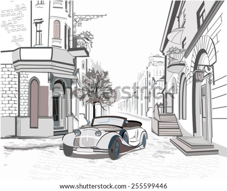Series of street views in the old city with a retro car   - stock vector