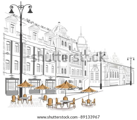 Series of streets with cafes in the old city - stock vector