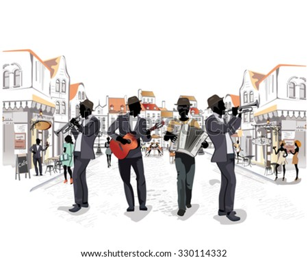 Series of the streets with musicians and passers in the old city. Trumpeter, accordionist, guitarist.  - stock vector