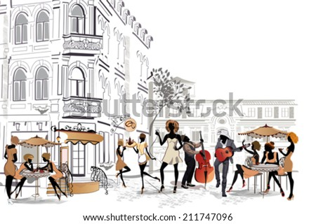 Series of the streets with people in the old city  - stock vector