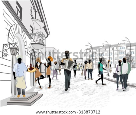 Series of the streets with people in the old city and street musicians - stock vector