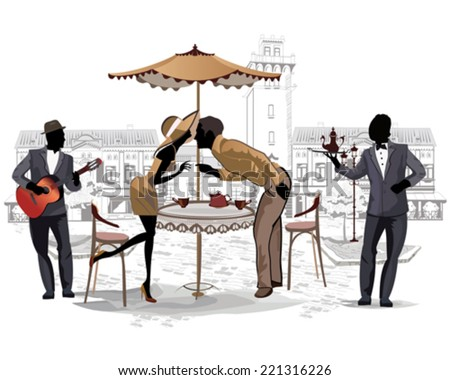 Series of the streets with people in the old city, romantic couple in the street cafe and a musician - stock vector