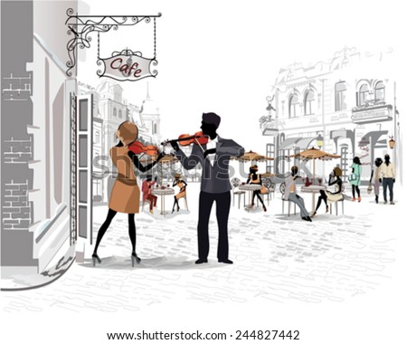 Series of the streets with people in the old city, street musicians with violins - stock vector