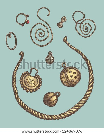 Series of vector illustrations of archaeological finds from the excavations of ancient human habitat. Ancient Jewelry: copper, silver and gold rings, earrings, buttons and Neck hoop - stock vector