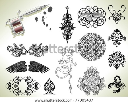 Series set of tattoo flash design elements with tattooists gun or machine - stock vector