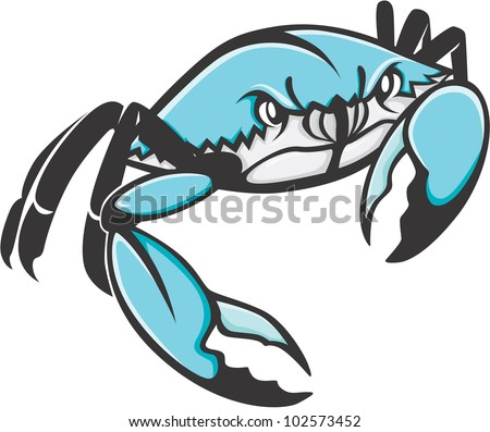 Serious Blue Crab Illustration - stock vector