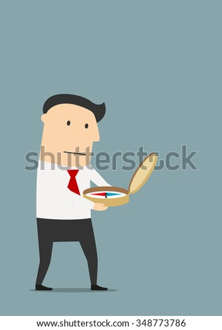 Serious cartoon businessman searching way to success with old compass. Business navigation or achievement concept usage - stock vector