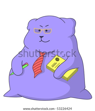 Serious director-pillow in glasses and red tie, with documents an armpit and pen in a hand - stock vector