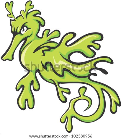 serious leafy and weedy sea dragon illustration