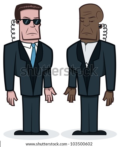 Serious looking agents - vector illustration