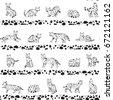 serval cat animal vector...