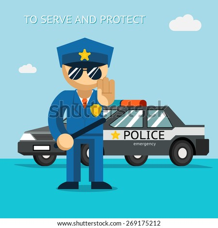 Serve and protect. Police officer stands in front of police car. Security male, car and officer, cop man, vector illustration - stock vector