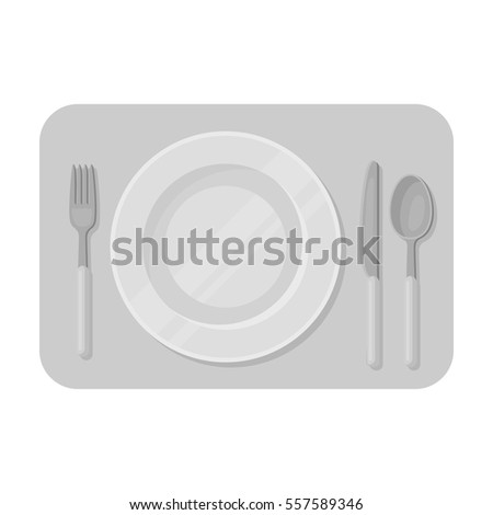 Served table icon in monochrome style isolated on white background. Rest and travel symbol stock vector illustration.