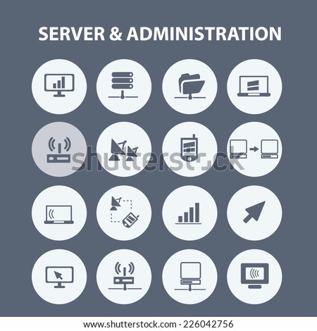 server, administration icons, signs, illustrations set, vector - stock vector