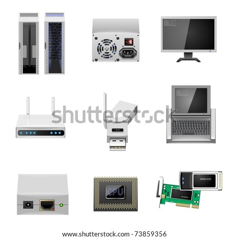 server and communication vector icon set - stock vector