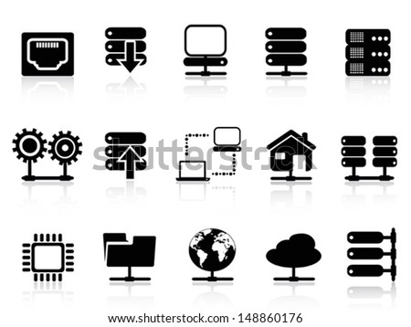 Server and database icon - stock vector