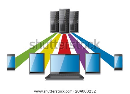 Server and network terminal - stock vector