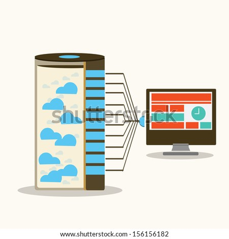 Server and workstations computing - stock vector
