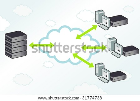 Server computing to workstations with servers in a cloud. - stock vector