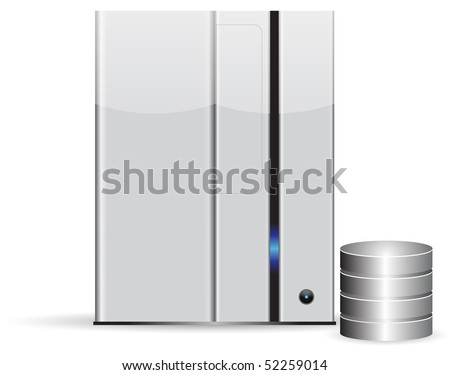 Server database, minimalist, isolated on white background - stock vector