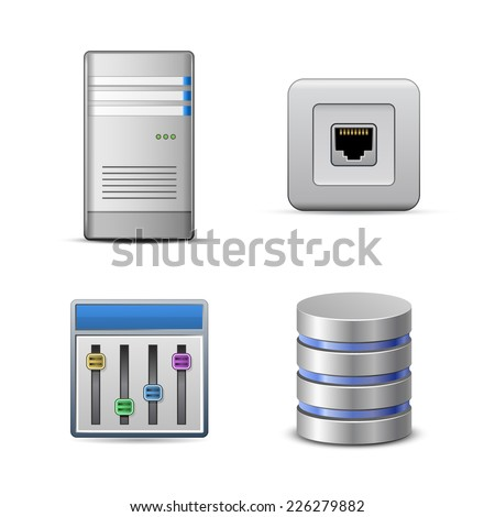 Server hosting icons. Vector illustration of computer server - stock vector