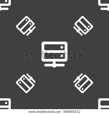 Server icon sign. Seamless pattern on a gray background. Vector illustration - stock vector