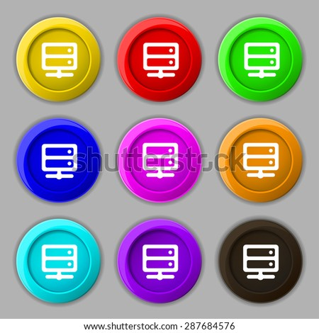 Server icon sign. symbol on nine round colourful buttons. Vector illustration - stock vector