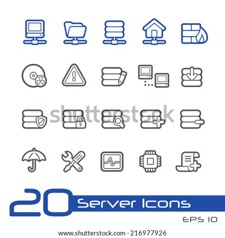 Server Icons // Line Series - stock vector
