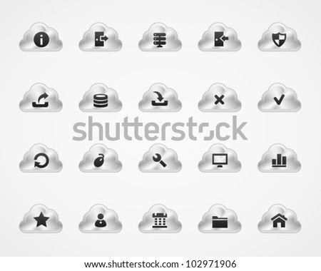 Server icons on metallic cloud buttons, set 1