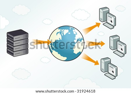 Server sending information to workstations through the internet - stock vector