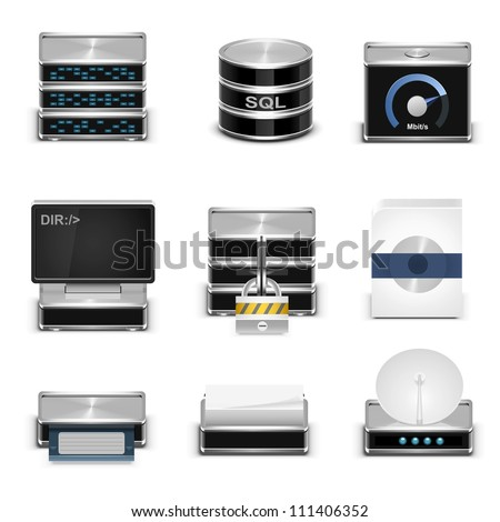server vector icons - stock vector