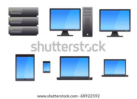 Server, Workstation, Laptops, Tablets and Smart Phone Vectors - stock vector