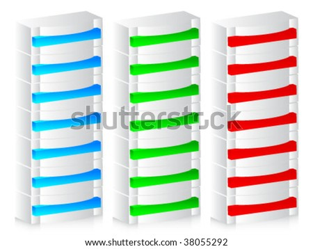 servers of different colors - stock vector