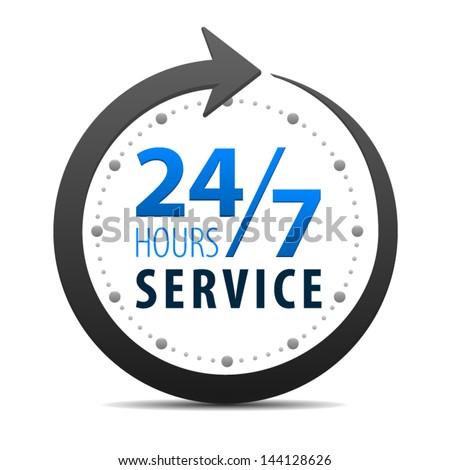 Service and support for customers around the clock and 24 hours a day and 7 days a week icon or symbol isolated on white background. Vector - stock vector