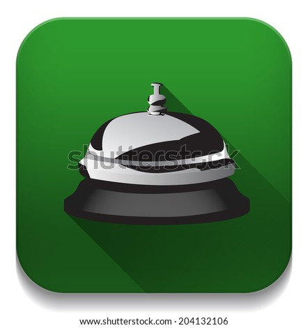 service bell icon With long shadow over app button - stock vector