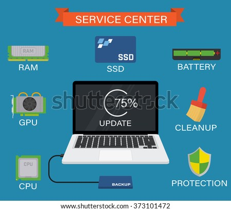 Service center - Upgrade your laptop PC with SSD, RAM, CPU, battery etc. - stock vector