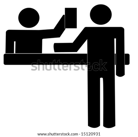 service desk offering help to customer over the counter - stock vector