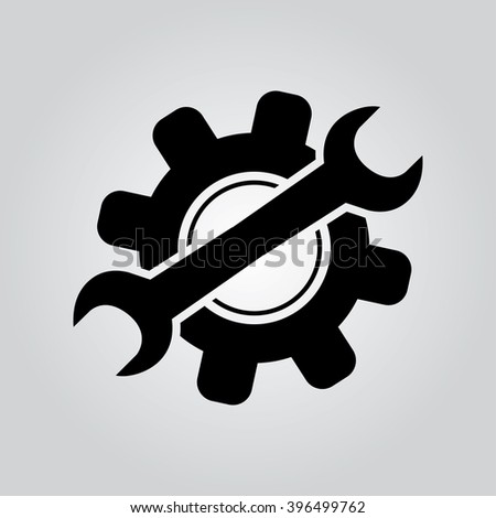 Service icon. Wrench key with cogwheel gear sign - stock vector